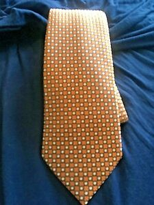 "ERMENEGILDO ZEGNA ORANGE GEOMETRIC 100% SILK 3 1/4"" TIE MADE IN ITALY  EC 58"""