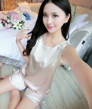2pcs Ladies Sexy Satin Silk Sleepwear Babydoll Lingerie Nightdress Pyjamas Suit