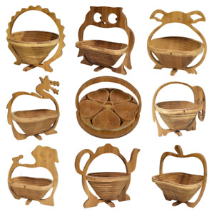 Collapsible Foldable Bamboo FRUIT BASKET  Folding Wood Stand Display Bowl Trivet