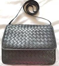 Bottega Veneta Purse Nero Black Intrecciato Leather Flap Crossbody Bag Vintage