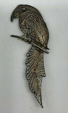 "Large 3"" Parrot Filigree Brooch Sterling Silver Mexico Latin America Vintage"