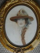Antique Watercolour Painting Signed L.Wilson Lady w Hat- England  1920's