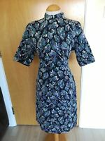 Ladies Dress Size 16 M&S Shimmer Wiggle Party Evening Black Blue Open Back