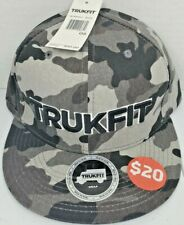 NEW TRUKFIT HAT Gray and Black Camo Adjustable Snap Back Flatbill
