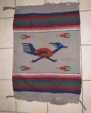 """True Vintage 50s-60s Chimayo Roadrunner W 00006000 ool Rug Blanket 25.5 x 37"""" Great Color"""
