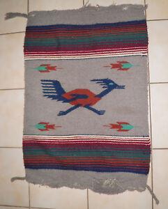 """True Vintage 50s-60s Chimayo Roadrunner Wool Rug Blanket 25.5 x 37"""" Great Color"""
