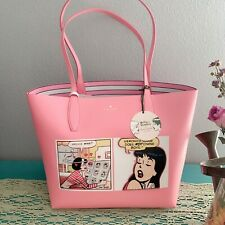KATE SPADE ARCHIE COMICS BETTY VERONICA LARGE REVERSIBLE TOTE BAG PINK POUCH