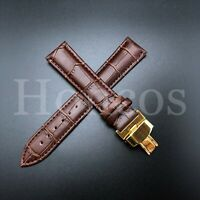 19MM LEATHER WATCH BAND STRAP FOR OMEGA SEAMASTER SPEEDMASTER BROWN GOLD CLASP