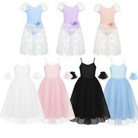 Kid Girl Ballet Dance Mesh Lace Dress Gymnastics Leotard Dancewear Skirt Outfit