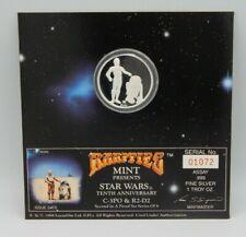STAR WARS 1oz. .999 SILVER ~ Rarities Mint 10th Anniversary Coin R2-D2 & C3-PO