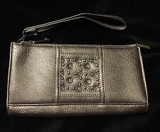 Rustic Couture Wristlet Wallet Clutch Rhinestones Bling & Silver Tone Studs