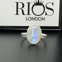 Elegant Oval Moonstone 925 Sterling Silver Gemstone Ring RRP £46.99 Boxed