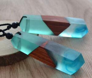 Simple Fashion Handmade Resin Wood Pendant Necklace Wooden Jewelry For Men Women