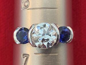 Platinum Diamond Ring Solitaire European Cut Diamond Sapphire Vintage Engagement