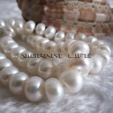 "18"" 8-10mm White Roundel Freshwater Pearl Strand Necklace Jewelry FR"