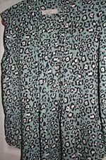 LOFT Animal print turquoise sleeveless Blouse Large  NWT