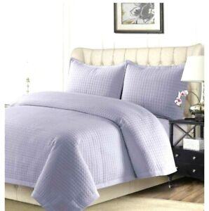 Tribeca Living Lavender Purple Microfiber Retro Style COMO Quilt Set Bedspread