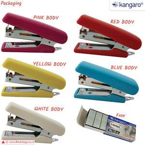 KANGARO Mini-10 Stapler Built-in Staple Remover 10 Sheet Stapling + 1000 Staples