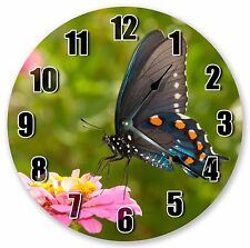 "10.5"" BUTTERFLY ON A FLOWER CLOCK - Large 10.5"" Wall Clock Home Décor Clock 3216"