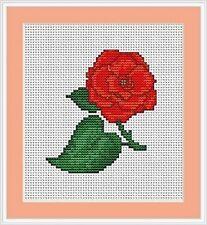 Red Rose Cross Stitch Kit - Luca S - Beginner 8cm x 9cm