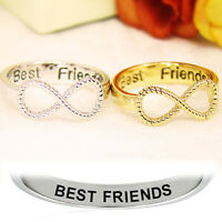 2PCS Letter Best Friends Engraved Friendship Infinity Ring Jewelry Gold Silver
