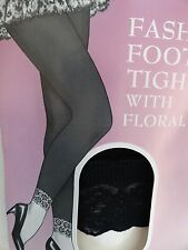 "Fashion  Footless Tights with Floral Lace ~ Black ~ Fits 5"" - 5.8"" 100 - 160 Lbs"