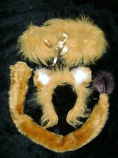 Lion Ears And Tail Set With Mane Gold Faux Fur Instant Fancy Dress Kids/Adults