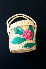 VINTAGE 1950'S STRAW PURSE 6 1/2 INCH WIDTH BY 7 INCHES HEIGHT