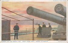 Postcard WW1 Sunset North Sea Deck Of HMS Queen Elizabeth unposted
