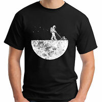 New Spaceman Man on the Moon Space NASA Rocket Funny Men's Black T-Shirt S-5XL
