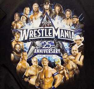 WWE Wrestlemania T-Shirt 25th Anniversary Graphic Tee Houston Texas Licensed 2XL