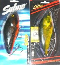 """Salmo SD14F Fatso Crankbait/Jerkbait (Lot of 2-Starry Nt Or/Real Bass 5.5""""/3.12)"""