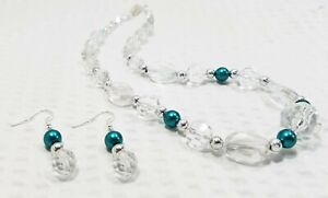 Clear Glass Crystal and Teal Pearl Bead Choker Necklace and Earring Set