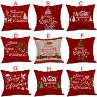 "18X18"" Merry Christmas Pillow Cases Cotton Sofa Cushion Cover Home Decor"