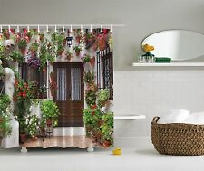Spanish House Flower Pots Old Mediterranean Shower Curtain Extra Long 84 Inch
