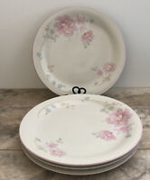China Pearl Stone Ware Dishes Claudia Dinner Plates Floral Roses 1988 Lot of 3