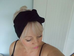 HEAD SCARF HAIR BAND BLACK SELF TIE bow stretch jersey rockabilly swing pin up