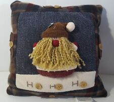 "Rustic Santa Throw Pillow Brown Plaid 14"" x 14"" NWT Holiday Decor"
