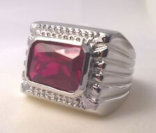 G-Filled Men's 18ct white gold ring simulated ruby red rectangle large 13 grams