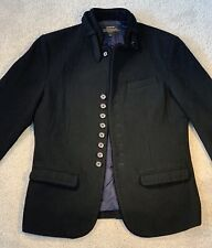 TRENDIANO Mens Winter Peacoat Jacket 90%Wool Buttons Black (AsianSizeM =US XS/S)