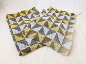 Pair Vintage 60's Curtains Geometric Yellow & Grey 181cm Drop Mid-Century Retro