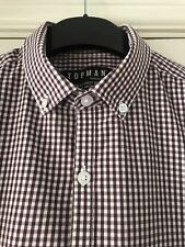 Topman Burgundy Gingham Check Long Sleeve Shirt Smart Casual Size S Chest 36-38""
