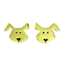 Far Fetched DOG Post EARRINGS Brass Sterling Silver Back - Gift Wrapped Box