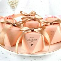50pcs Diamond Form Wedding Candy Box Wrap Baptism Favors Gifts With Ribbons