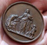 Médaille de quête en faveur des pauvres 1862 signé CAQUÉ