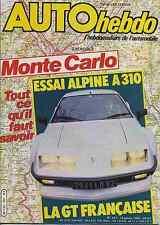 AUTO HEBDO n°351 13/01/ 1983 MONTE CARLO ALPINE A310
