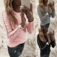 UK Womens Beaded Long Sleeve Blouse Tops Ladies Crew Neck Casual Jumper Pullover