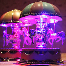 Vintage Horse Carousel Music Box Toy Light Clockwork Musical Birthday Gifts