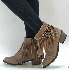 New Women Od18 Beige Fringe Western Boots Ankle Booties sz 5.5 to 11