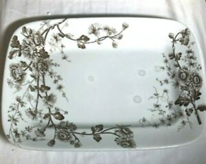 Aesthetic Movement Grindley & Co England 1800s Large Platter Brown Transferware